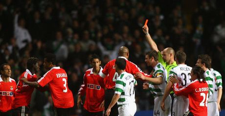 Off: Augustin Binya is shown the red card following his tackle on Scott Brown