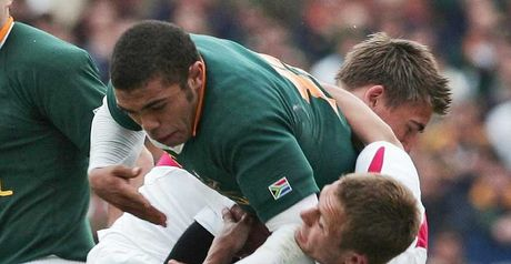 No way through: Bryan Habana is tackled by Jonny Wilkinson