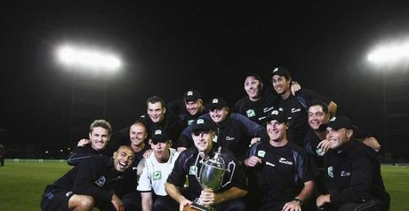 New Zealand celebrate their 3-1 series win