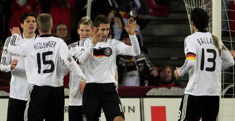 Celebration: Klose is congratulated