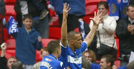 Dickinson celebrates scoring for Stockport