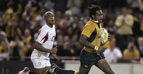 Varndell: was given a brutal lesson by Tuqiri (right) in 2006