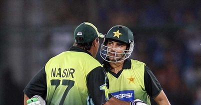 Nasir (left) congratulates Butt on his half-century
