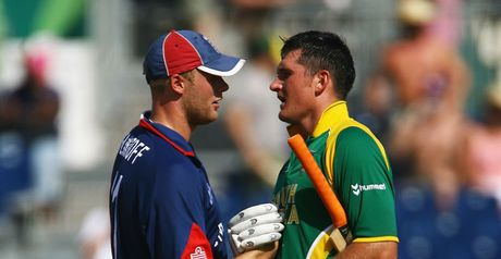 Flintoff (left) and Smith shake hands at last year's World Twenty20