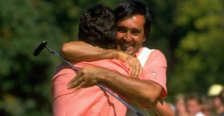 Olazabal gets a hug from Seve