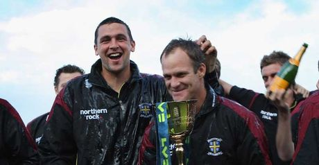 Harmison (left) and Benkenstein celebrate with the County Championship trophy