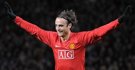 Double delight: Dimitar Berbatov celebrates his brace against Celtic