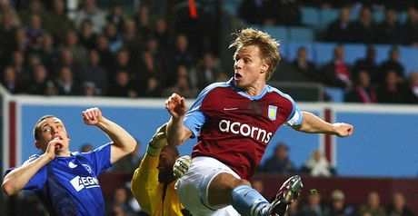 Laursen opens the scoring for Villa