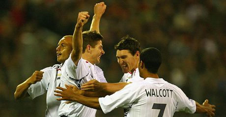 Gerrard is congratulated after opening the scoring