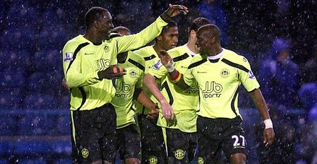 Latics celebrate Heskey's winner