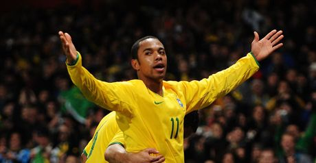 Robinho celebrates at Emirates Stadium