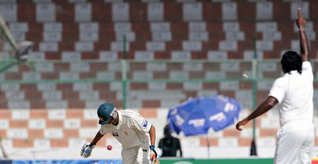 Younus is bowled to end an innings spanning 12 hours and 48 minutes across four days