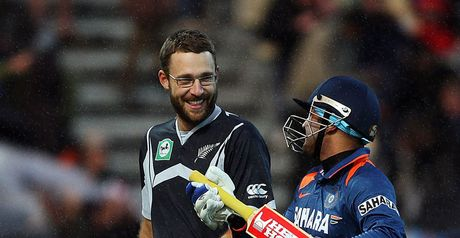 Vettori (left) and Sehwag will renew acquaintance in Auckland
