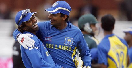 Sangakkara (R) and Malinga celebrate at Lord's