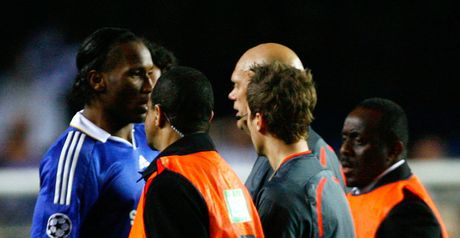 Didier Drogba confronts referee Tom Henning Ovrebo in 2009