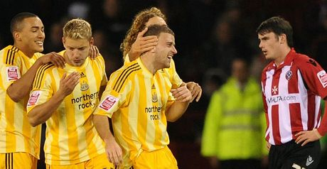 Taylor celebrates his winner at Bramall Lane
