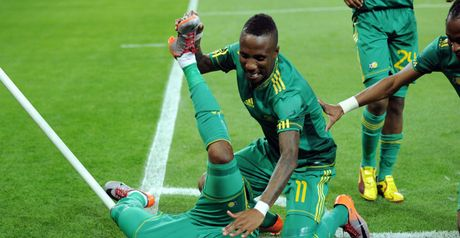 Mphela: Celebrates penalty