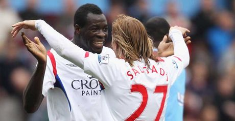 Samba and Salgado celebrate at Villa Park