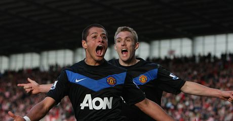 Hernandez: United's matchwinner with two goals against Stoke