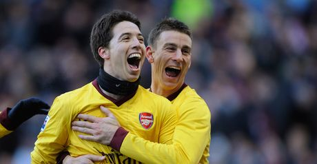Samir Nasri celebrates after giving Arsenal a 2-0 lead before half-time.
