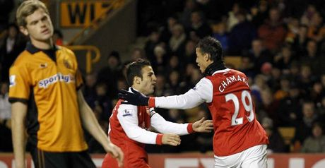 Well done: Chamakh celebrates his first goal..........