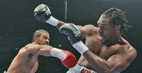 Audley Harrison (r) was beaten by David Haye in 2010