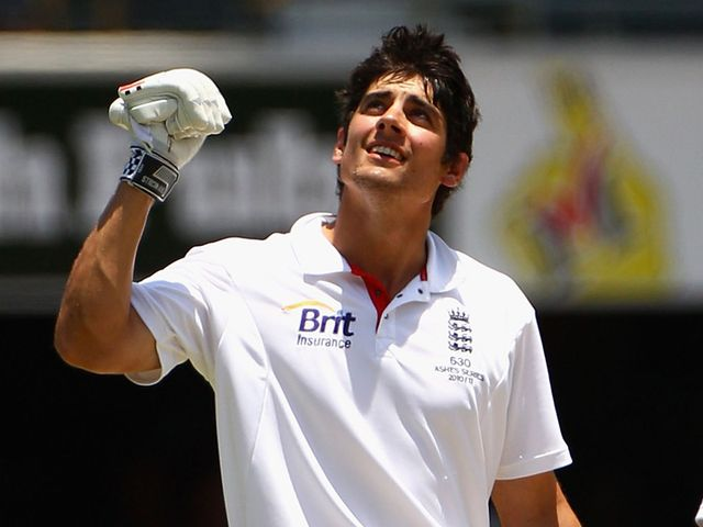 Alastair Cook enjoys his 235 not out against Australia in 2010.