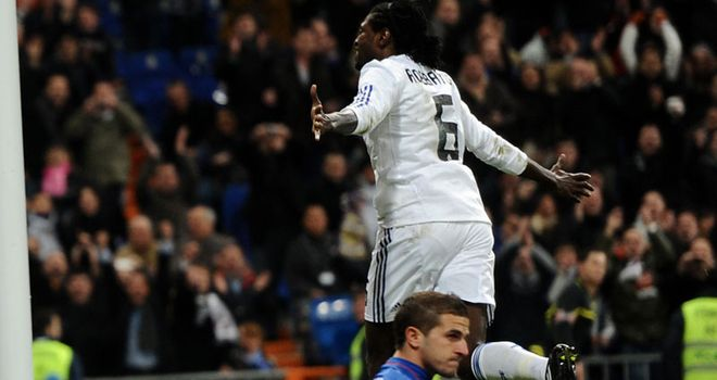 Adebayor: Scores first Madrid goal