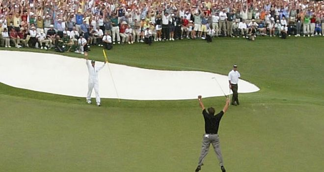 Mickelson jumps for joy.