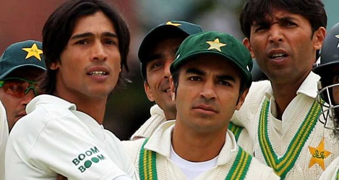Left to right: Amir, Butt and Asif pictured during the Lord's Test