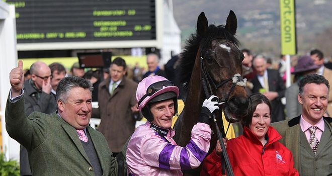 Zarkandar's connections celebrate his Triumph Hurdle victory at Cheltenham