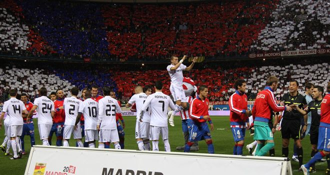 Both sides showed their support at The Vicente Calderon stadium.