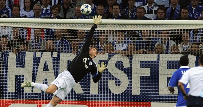 Neuer: Against Man Utd in one of his final appearances for Schalke last season