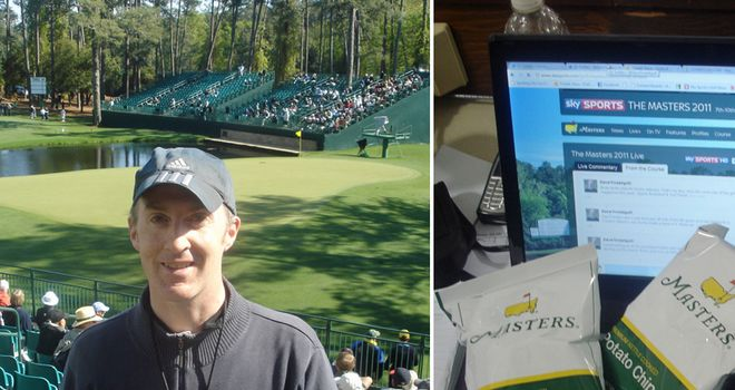 Left: Dave near the 15th. Right: Masters crisps!
