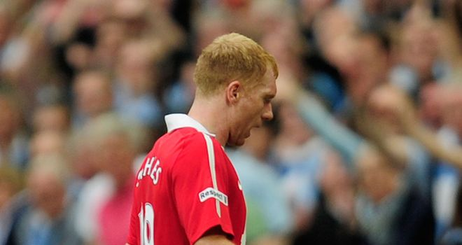 Scholes: Saw red at Wembley on Saturday for horror challenge