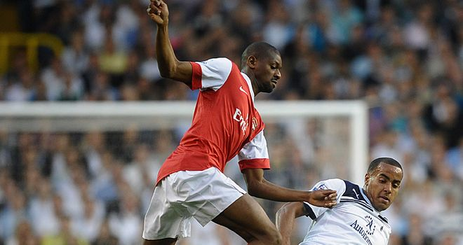 Abou Diaby (L): Could return to the Arsenal line-up for the North London derby