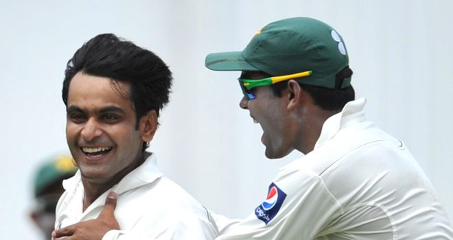 Hafeez (left): sprung a surprise on day one of the first Test