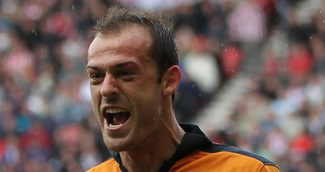 Steven Fletcher celebrates scoring Wolves' second goal at Sunderland