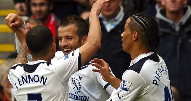 Tottenham celebrate as they go back above Liverpool