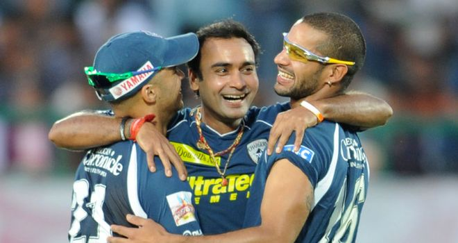 Mishra celebrates his second IPL hat-trick
