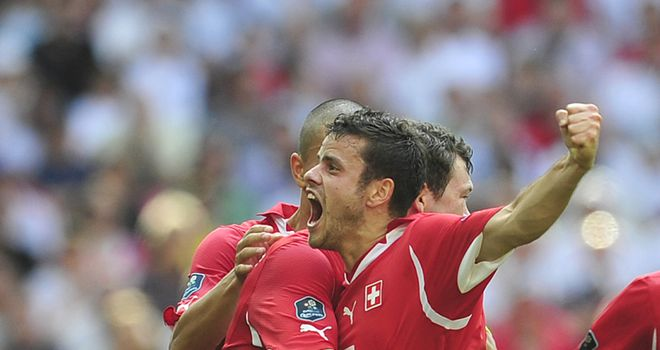 Two-goal hero Barnetta celebrates putting Switzerland in charge