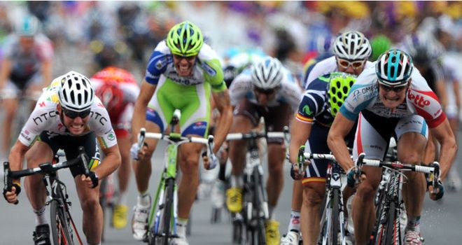 Greipel (right): Denied former team-mate Cavendish in a head-to-head sprint