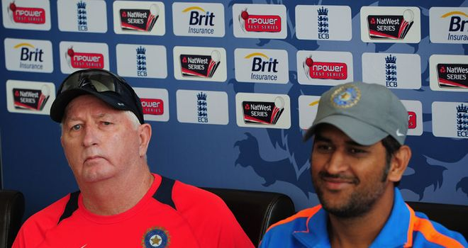Facing up: India head coach Fletcher and captain Dhoni front the media at Taunton