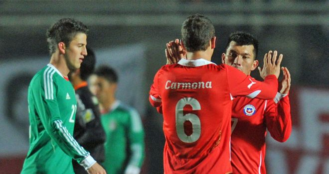 Chile celebrate during the 2-1 win over Mexico in their opening game in Group C in the Copa America