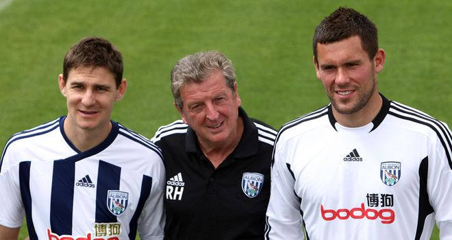 Hodgson: Poses with new signings Zoltan Gera and Ben Foster
