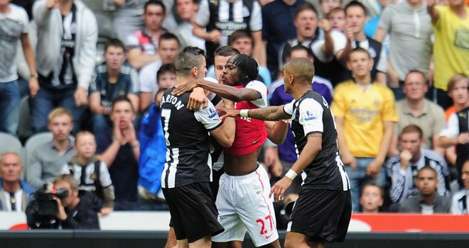 Barton: The midfielder clashed with Gervinho at St James' Park