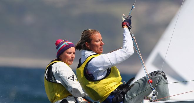 Clark: With sailing partner Mills at the Olympic test event