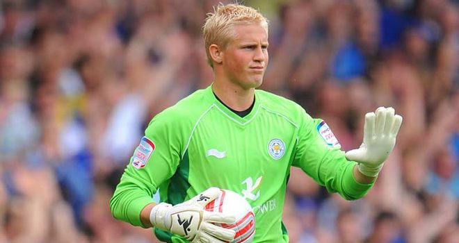 Kasper Schmeichel: Earned the praise of Michael Appleton after Leicester's 1-1 draw at Portsmouth