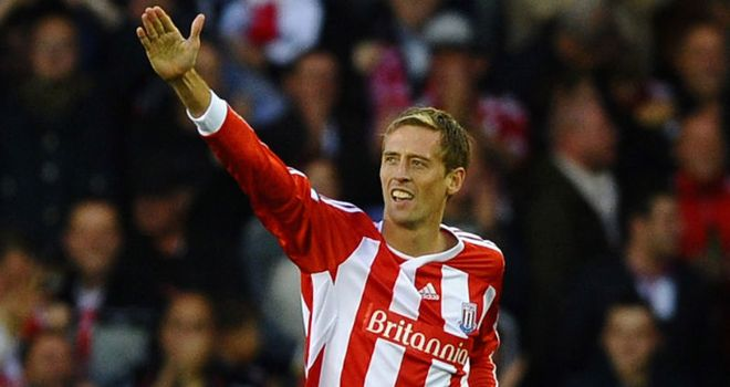 Crouch: Scored his first goal for Stoke in their 1-1 draw with Manchester United