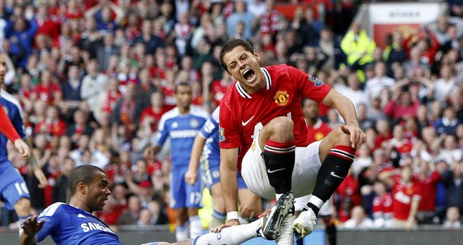 Hernandez: Hobbled out of United's wn over Chelsea following a tackle from Cole